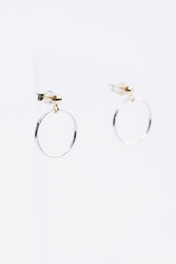 Baller hoops - mixed metal gold stud with sterling silver ring