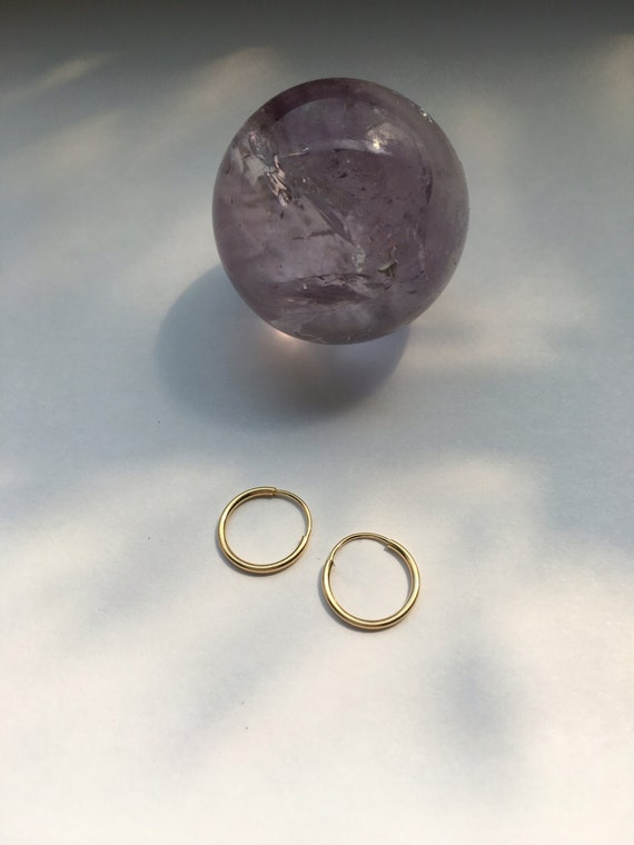 10mm or 12mm solid 14k gold endless hoops