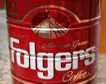 Vintage Folgers Coffee Advertising Tin Can  Perc & Regular 2 lbs 7 ozs  1984  #4
