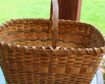 Vintage Woven Wicker Large Basket Open Picnic Basket