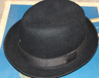 96abcce620c818 Vintage Men's CHAMP Kasmir Finish Felt Black Fedora Hat
