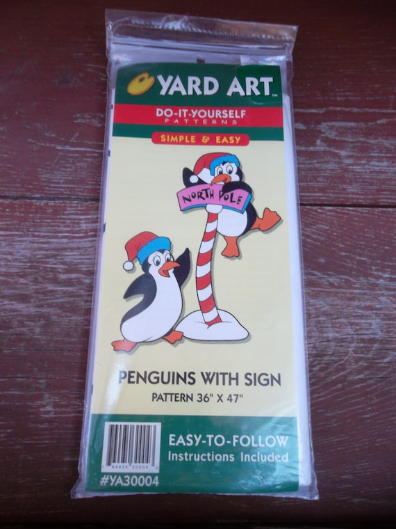 Yard art do it yourself patterns penguins with sign outdoor etsy image 0 solutioingenieria Choice Image