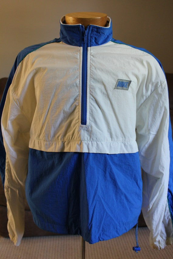 0a3aa96399e9 Vintage Gray Tag NIKE Pullover 1 4 Zip Blue White Green Marked