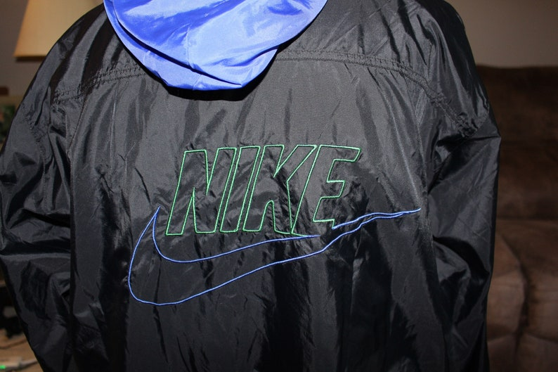 498c6e800139 Vintage Gray Tag Black Blue Green NIKE Windbreaker Full Zip