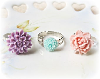 Botanical Jewelry Ring Set Pastel - Jewellery Floral Rose Purple Pink Aqua Blue -  Adjustable Accessories Boho Bhic Gift For Women Teens