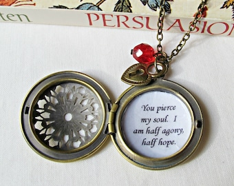Jane Austen Locket Necklace Persuasion Quote Jewellery Jewelry You Pierce My Soul I Am Half Agony Half Hope Gifts For Her Women