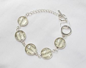 Sherlock Holmes Bracelet Jewelry Detective Sleuth Bookworm Gift Jewellery For Women Arthur Conan Doyle Literary Bookish Silver Charm Tennis