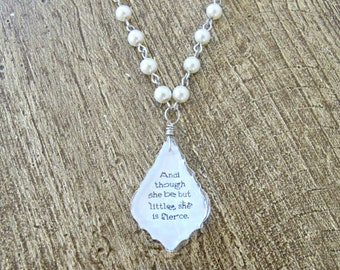 Chandelier Pendant Necklace Shakespeare Pearl Quote Jewellery Jewelry A Midsummer Night's Dream And Though She Be But Little She Is Fierce