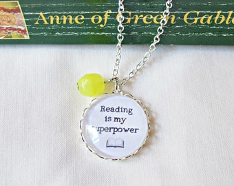 Reading Is My Superpower Quote Necklace Jewellery Jewelry Handmade Silver Bookworm Women Librarian Gift For Her