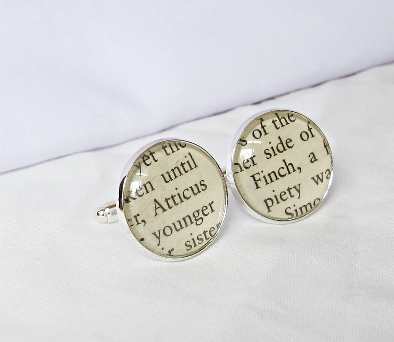 Suit Accessories Atticus Finch Cufflinks Geekery Wedding Groom Bookworm Gift Father Of The Bride Lawyer To Kill a Mockingbird Cuff Links