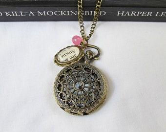 Atticus Finch Watch Necklace To Kill A Mockingbird Jewellery Pocketwatch Bookworm Gift Jewelry Pocket Bookworm
