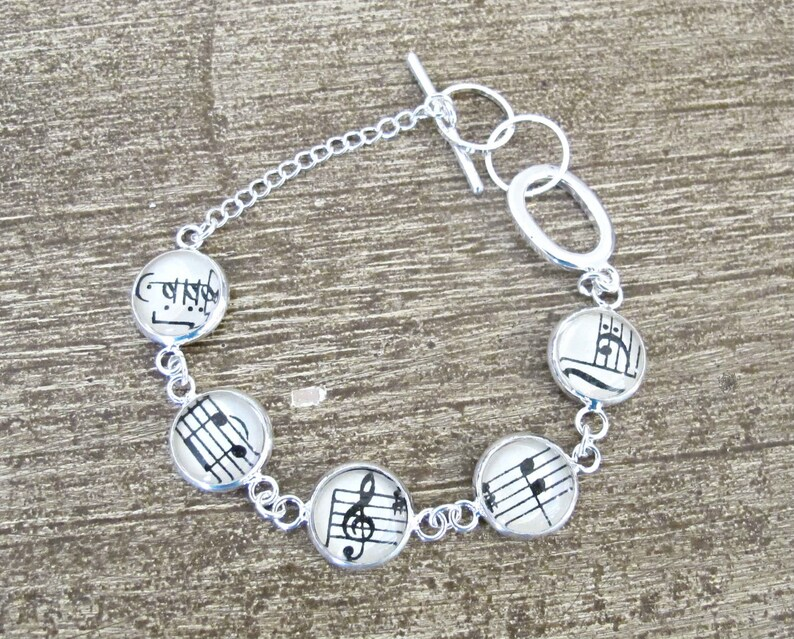 Music Bracelet Gift Jewelry Vintage Sheet Jewellery Musician Musical Notes Treble Clef Bass For Women Silver Tennis Round Handmade