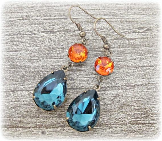 Sapphire Blue Earrings Blue Earrings Crystal Earrings Vintage Glass Jewels Victorian Earrings Old Hollywood Glamour Estate Style Gift