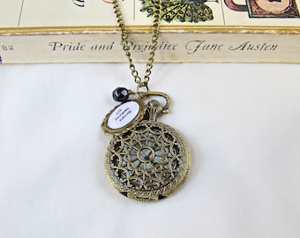 Jane Austen Watch Necklace Obstinate Headstrong Girl Pride Prejudice Quote Jewellery Pocketwatch Bookworm Gift Jewelry