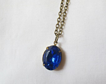 Sapphire Blue Vintage Crystal Jewelry Necklace Jewellery For Women Brass Solitaire Pendant Gift Glass Something Blue Statement