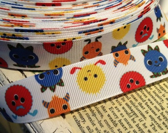 "3 yards 7/8"" Friendly Whimsical  Monster grosgrain ribbon"