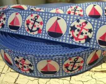 "7/8"" NAUTICAL Pink Sailboat Anchor on Blue Grosgrain Ribbon"
