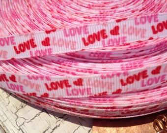 "3 yards 3/8"" Valentine Love grosgrain ribbon"