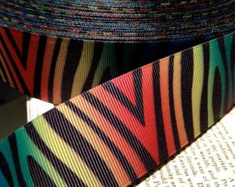 "3 Yards 1.5"" RAINBOW BLACK ZEBRA Animal Print Grosgrain Ribbon"