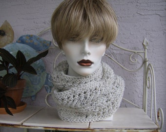 Alpaca Cowl Knit in a Lace Pattern