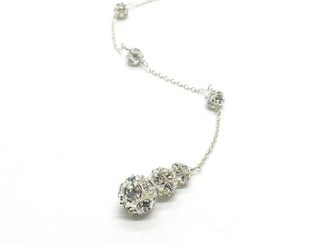 Glamorous Low Back Necklace Sarina Backdrop Necklace For Prom Pear Crystal Teardrop Halo Rhinestone Formal Evening Bling Jewelry Set