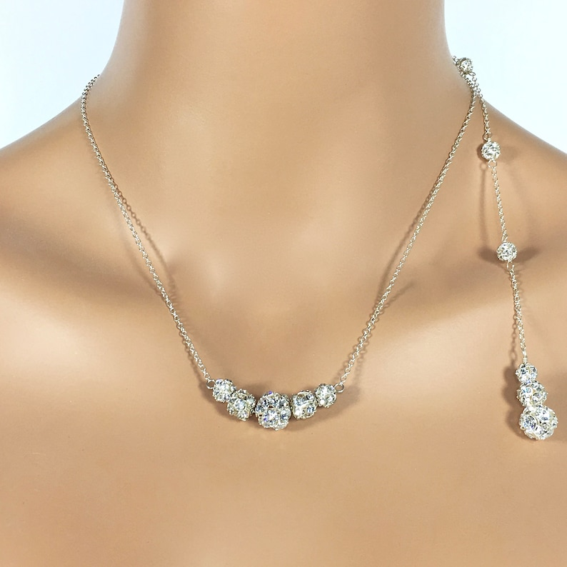 Ava Prom Jewelry Formal Necklace Bling Bridal Jewelry Sparkly Necklace Backdrop Necklace Rhinestone Back Jewelry Back Necklace