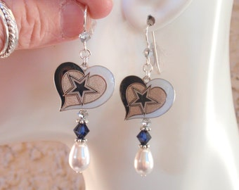4cc50f6fadc167 Dallas Cowboys Earrings White Pearl Navy and Silver Crystal Pro Sterling  Silver Ear Wires Football Cowboys Jewelry Accessory Bling Fanwear