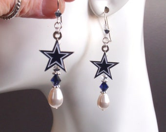 8f12ed6d1e9682 Dallas Cowboys Earrings White Pearl Navy and Silver Crystal Sterling Silver  Ear Wires Pro Football Cowboys Jewelry Accessory Bling Fanwear