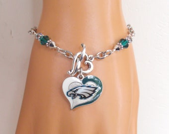6c7dd010e Philadelphia Eagles Bracelet Green and Silver Crystal Stainless Steel Chain  Pro Football Eagles Jewelry Accessory Bling Fanwear
