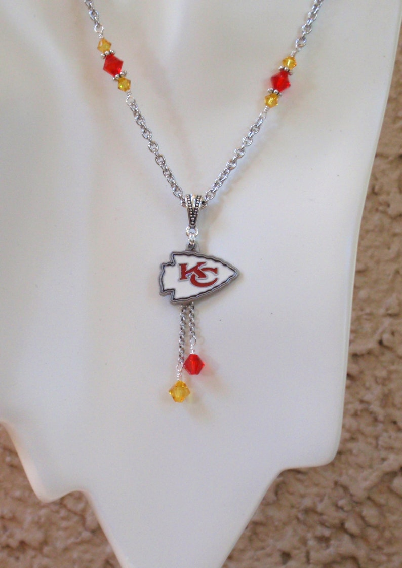 bff94877f5e Kansas City Chiefs Necklace Red and Gold Crystal Arrowhead