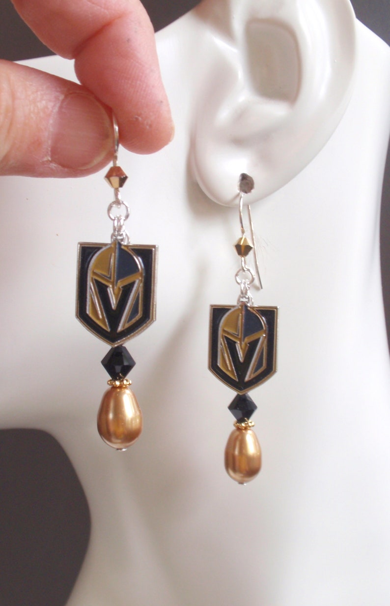 12eef9efcbcd67 Las Vegas Golden Knights Earrings Sterling Silver Ear Wires | Etsy