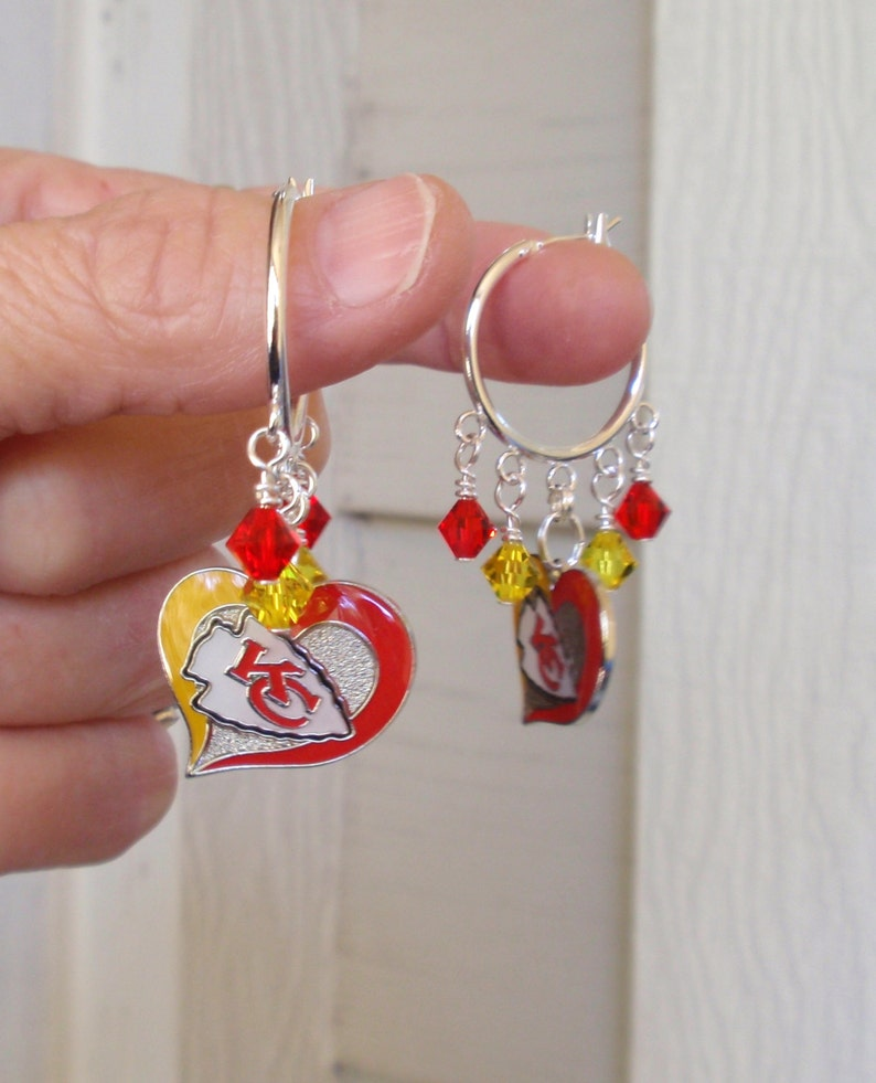 852acf36bed Kansas City Chiefs Earrings KC Chiefs Jewelry Red and Gold