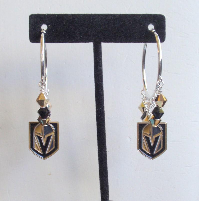 Las Vegas Golden Knights Black and Metallic Gold Crystal VGK Hockey Fan Hoop Earrings