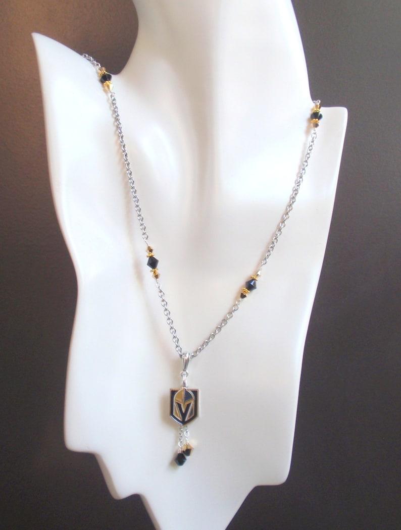 Las Vegas Golden Knights Black and Gold Crystal Pro Ice Hockey VGK Women/'s Charm Necklace