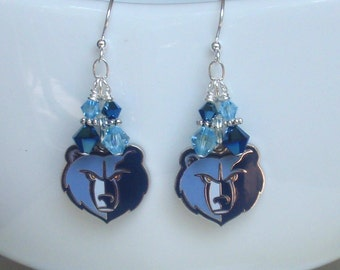 Memphis Grizzlies Earrings, Grizzlies Bling, Navy and Aqua Crystal Pro Basketball Earrings, Basketball Grizzlies Jewelry Accessory