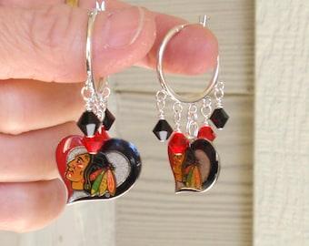 Chicago Blackhawks Earrings, Hawks Bling, Red and Black Crystal Hoop Pro Hockey Earrings, Ice Hockey Blackhawks Jewelry Accessory