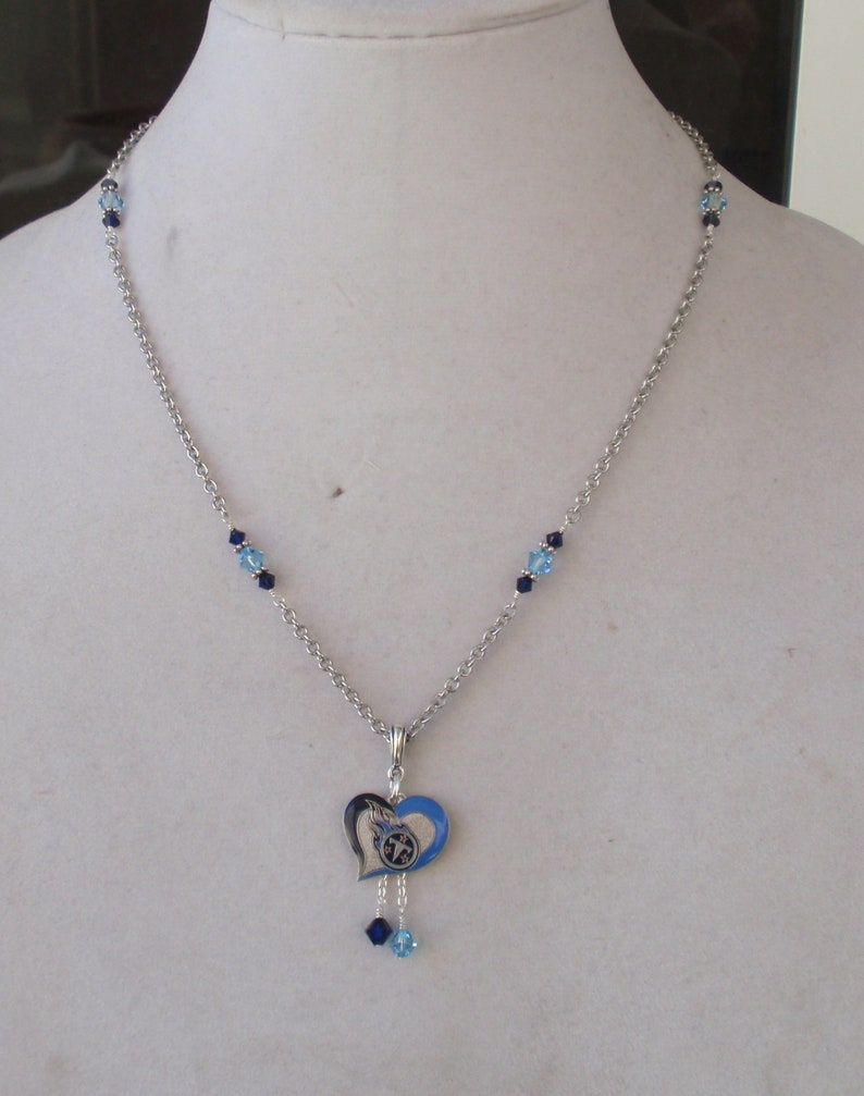 7c05572c0f0b Tennessee Titans Necklace Aqua and Navy Crystal Pro Football