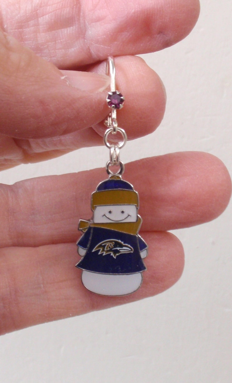 Ravens Jewelry Pro Football Ravens Bling Accessory Purple Crystal Leverback Snowman Earrings Baltimore Ravens Earrings Christmas