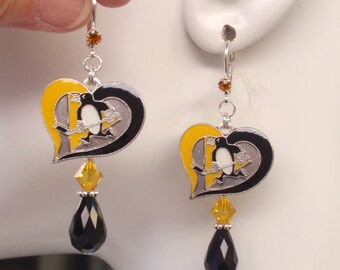 Pittsburgh Penguins Earrings, Penguins Jewelry, Black and Gold Crystal Ice Hockey Earrings, Pro Hockey Pens Bling Accessory Fanwear