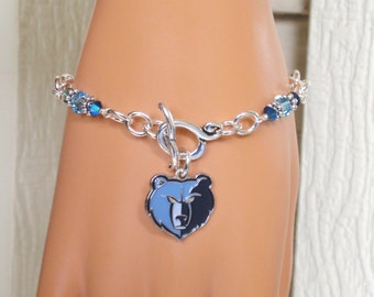 Memphis Grizzlies Bracelet, Grizzlies Bling, Navy and Aqua Crystal Pro Basketball Bracelet, Basketball Grizzlies Jewelry Accessory