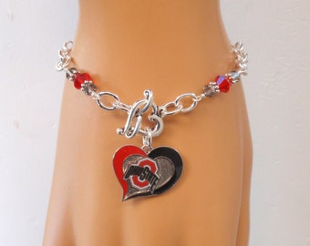 Ohio State Bracelet, OSU Jewelry, Scarlet and Gray Crystal College Bracelet, College Football Buckeyes Bling Accessory Fanwear