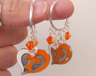 Tennessee Volunteers Earrings TN Vols Jewelry Orange and Clear Crystal College Football UT Vols Accessory Bling Fanwear