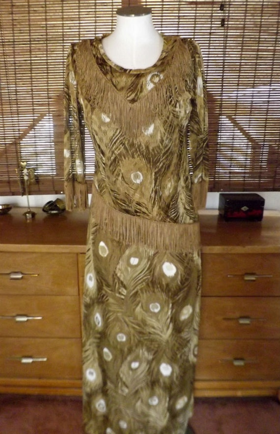 Vintage 60s Earthy Peacock Print Maxi Dress and Fr