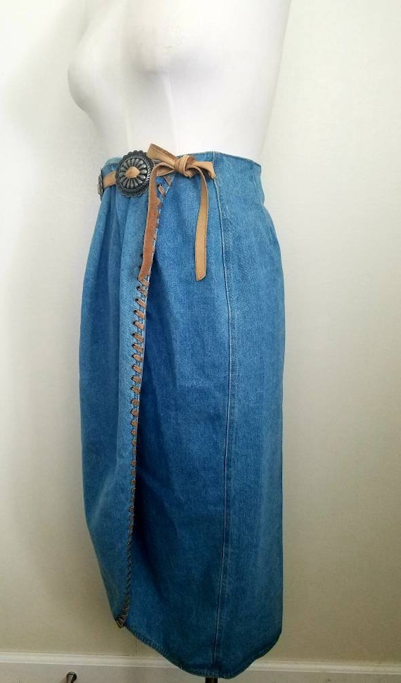 Vintage 90s western denim Wrap MIDI Skirt M