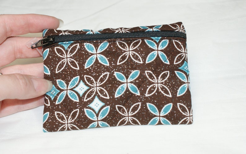 S92 Brown and Blue Flower Pouch Small
