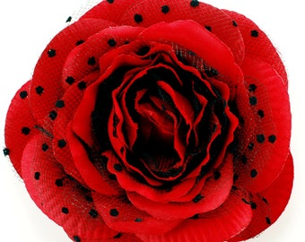 0deb69f4ef Large Red Rose with polka dot Magnetic Hold Pinless Posie