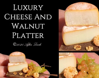 Luxury Cheese And Walnut Platter - Artisan fully Handmade Miniature in 12th scale. From After Dark miniatures