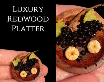 Luxury Redwood Friut Platter - Artisan fully Handmade Miniature in 12th scale. From After Dark miniatures