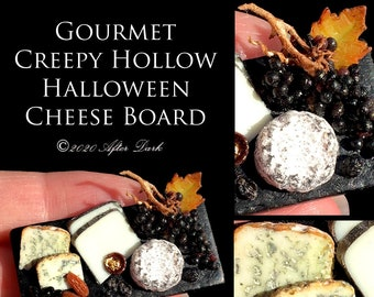 Gourmet Creepy Hollow Cheese Platter - Artisan fully Handmade Miniature in 12th scale. From After Dark miniatures
