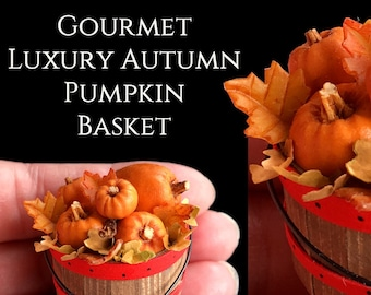 Luxury Pumpkin Apple Basket - Halloween - Dolls house Food in 12th scale. From After Dark Miniatures.